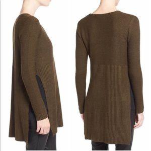 🌻 ASTR V-Neck Side Slit Tunic Knit Sweater Brown